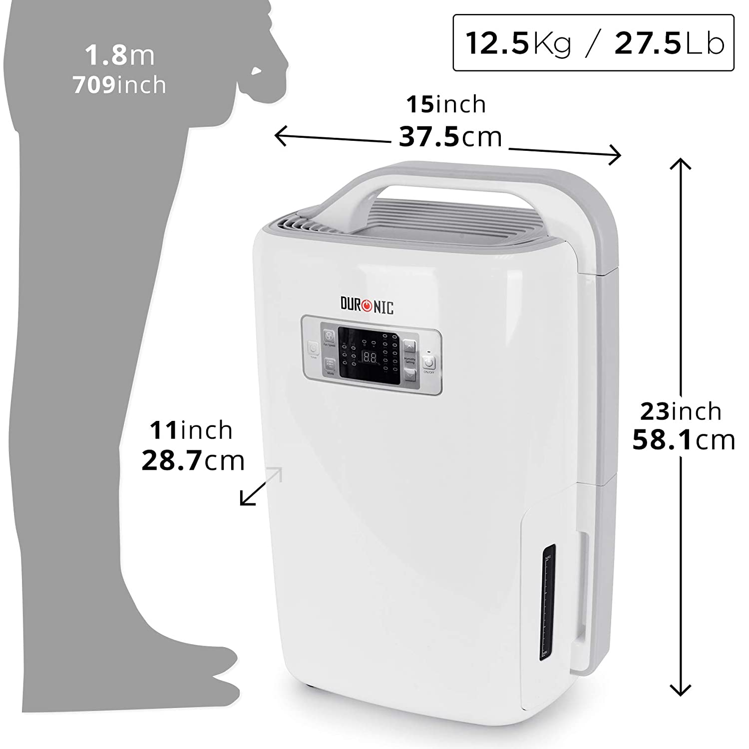 Moisture and Condensation Office Ultra-Quiet Digital Display Duronic DH20 20L Dehumidifier 320W Laundry Dryer Removes Mould 4L Tank Capacity Damp Home 3 Speeds Timer Caravan