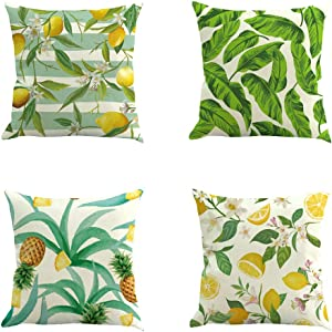 widewing Farmhouse Pillow Covers 18x18 Inches Tropical Fruit Pillow Covers Farmhouse Decor Lemon Pineapple Decor Cushion Case for Couch Home Decor Housewarming Gifts 4pcs