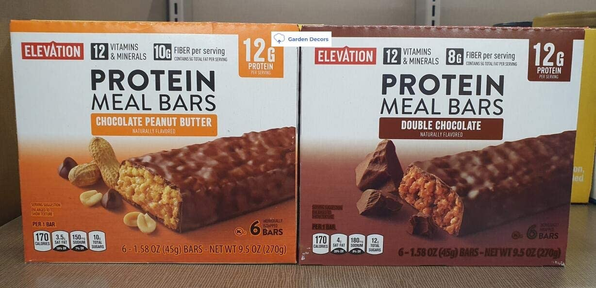 Elevation Protein Meal Bars Chocolate Peanut Butter and Double Chocolate 9.5oz 270g (Two Boxes)