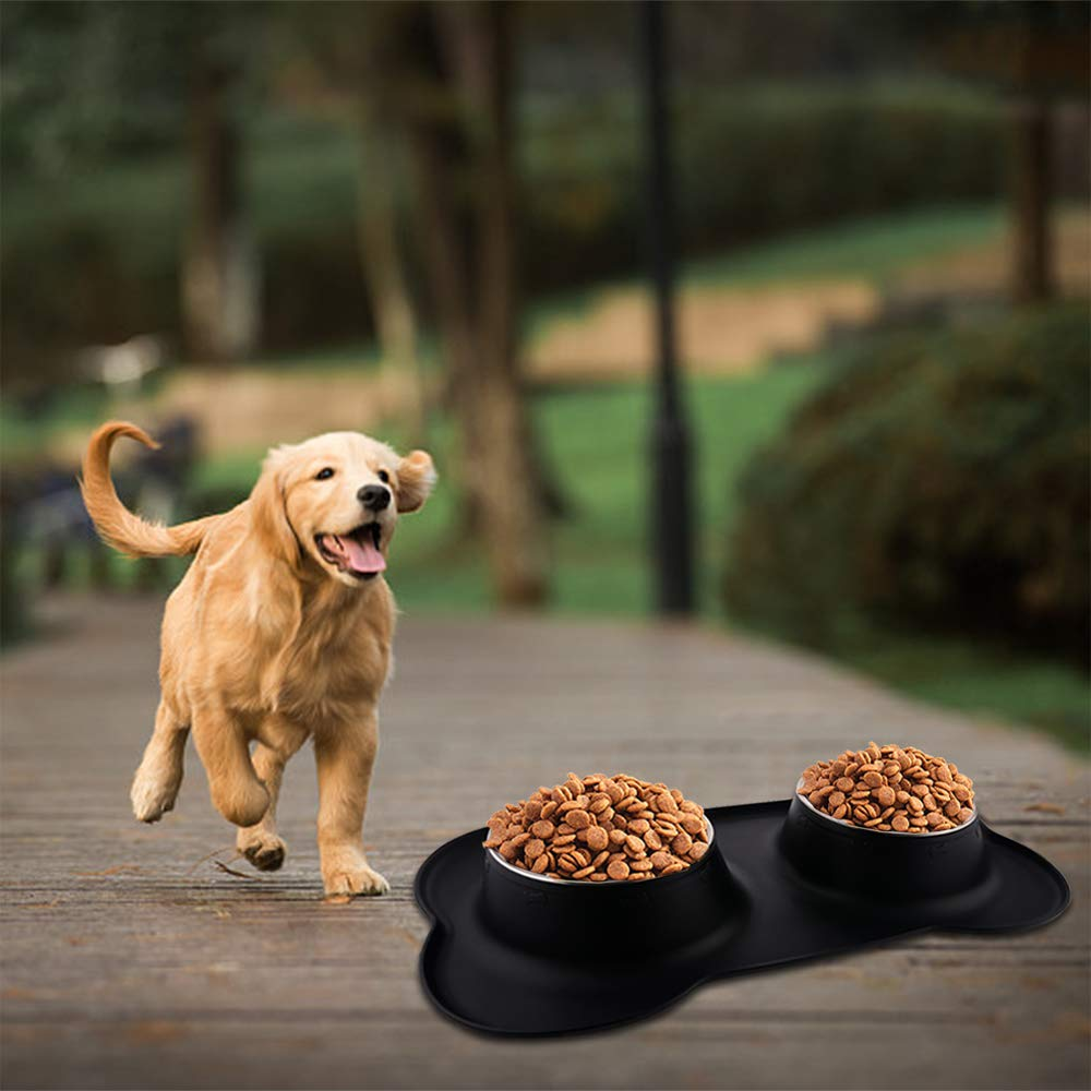 Guardians Dog Food Mat with Stainless Steel Dog Bowls, 2 Large Bowls (26.5oz Each), No Spill Non-Skid Silicone Mat Pet Feeder Bowl for Medium Animals