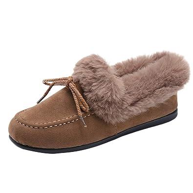 Zapatos Mocasines Mujer Botas de Nieve Tubo Corto Femenino Zapatos de Algodón mas Terciopelo Suave Calzado Planas Casuales: Amazon.es: Zapatos y ...