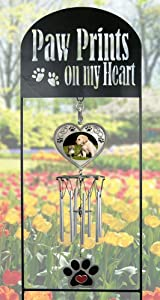 BANBERRY DESIGNS Pet Memorial Wind Chimes - Black Wrought Iron Garden Stake and Windchime - Paw Prints on My Heart - Dog Memorial Gift - Cat Memorial Gift - Pet Sympathy Gifts