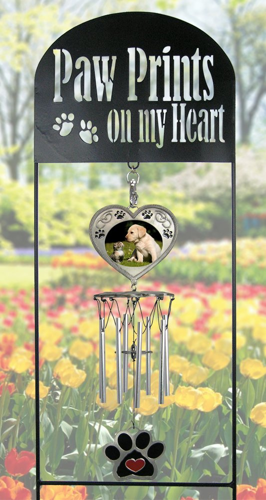 BANBERRY DESIGNS Pet Memorial Garden Stake - Pet Memorial Wind Chimes - Paw Prints on My Heart - Dog Memorial Gift - Cat Memorial Gift - Pet Sympathy Gifts - Pet Remembrance Gifts - Pet Bereavement