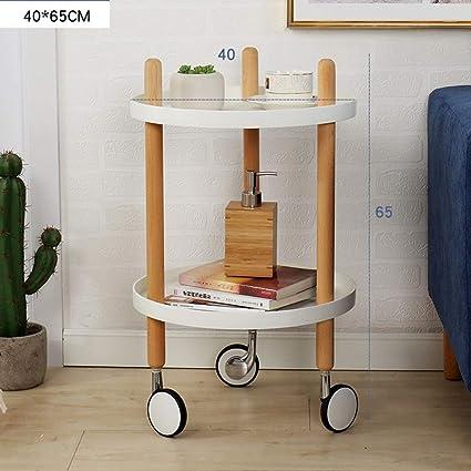 Mesa de centro CAICOLOUR Ruedas Dormitorio Sala de Estar Mesa Auxiliar Carrito de Cocina Mini Mesa
