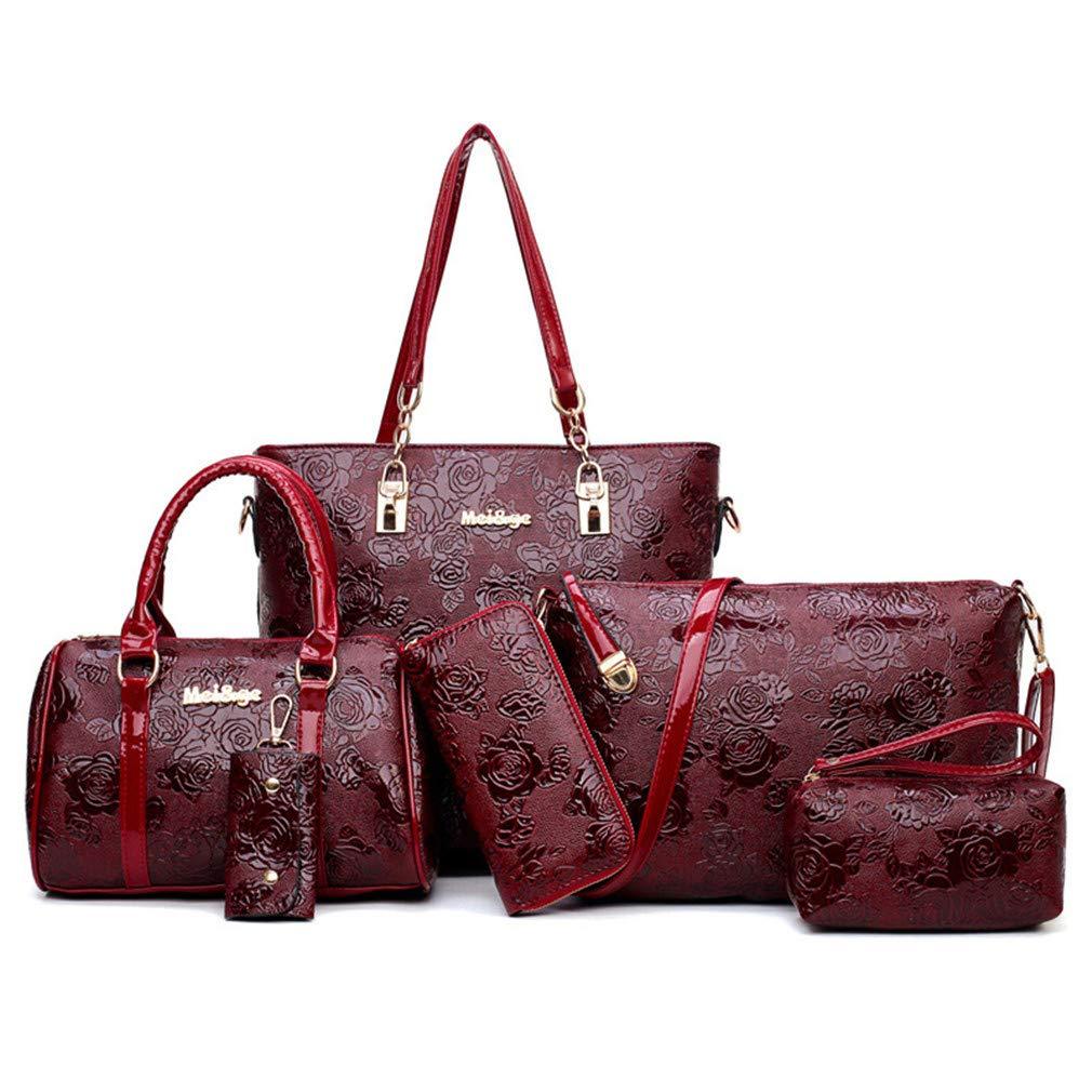 Women's Leather Handbags Fashion Shoulder Female Messenger Bag 6Pcs Tote Bags