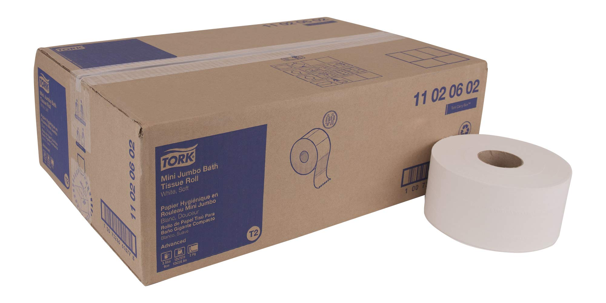 Tork Advanced 11020602 Soft Mini Jumbo Bath Tissue Roll, Perforated, 2-Ply, 7.36'' Diameter, 3.55'' Width x 8.38'' Length, White (Case of 12 Rolls, 1,075 per Roll, 12,900 Sheets) by Tork