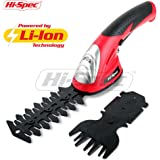 Hi-Spec 7.2V 2-in-1 Cordless Electric Garden Grass Shears & Hedge Trimmer with 1500mAh Lithium-Ion Battery and 2 Attachment Blades for Gardening, Cutting, Trimming, Shearing, Pruning and Thinning Plants and Foliage