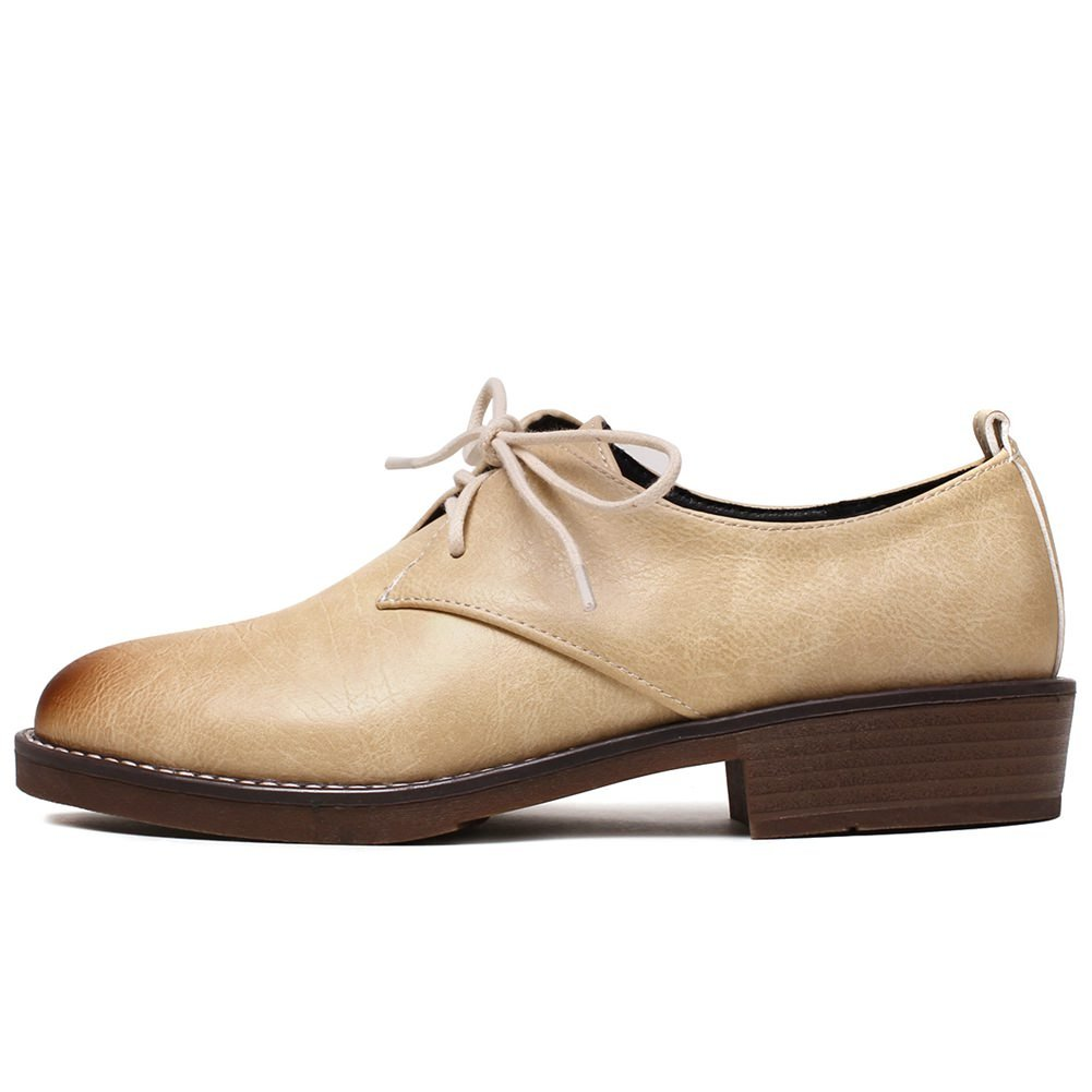 SaraIris Women Chunky Mid Heel Shoes Wingtip Lace up Casual Oxford Shoes