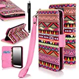 E LV Deluxe Synthetic Leather Wallet Case Cover with Premium Interior Design for Motorola Droid Ultra (Late 2013) XT1080 with 1 Black Stylus (Motorola Droid Ultra, Colorful Tribal)