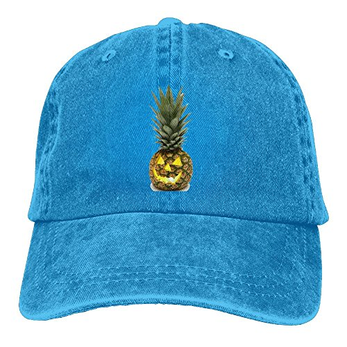 Scary Halloween Pineapple Adjustable Adult Cowboy Cotton Denim Hat Sunscreen Fishing Outdoors Retro Visor -