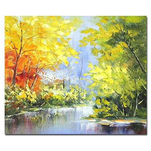 Muzagroo Art Landscape Oil Paintings Original Art Tree Pictures for Living Room Wall Canvas Paintings(Yellow, 20x24in) ()