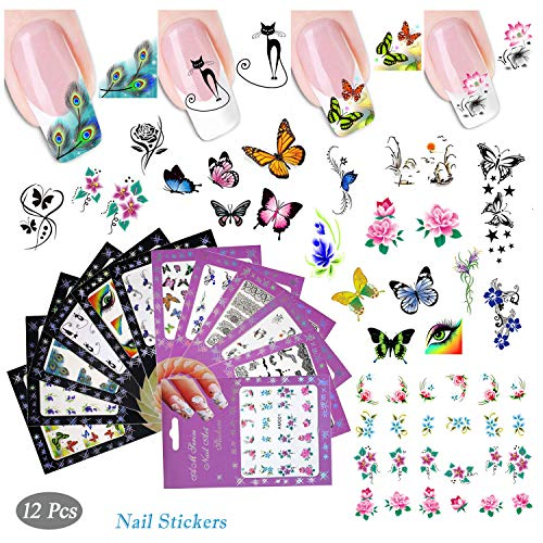12 Sheets Nail Stickers Nail Foils Adhesive Stickers Flower Cartoon Animal Cat Butterfly Nail Decal DIY Tips Nail Art Decoration Color Nail Beauty Tool (12A)