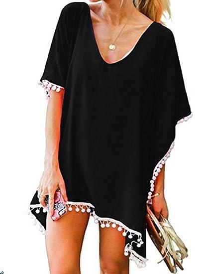 3a49df6e3354d Womens Chiffon Beach Bikini Cover up Dress Swimsuit Swimwear Coverups  Tassel Pom Pom Trim Kaftan Beachwear