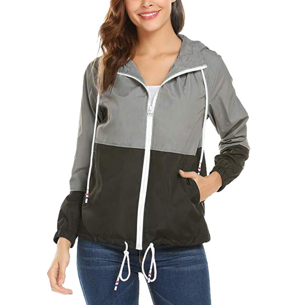 Farjing Women Hoodies Sweatshirt Long Sleeve Patchwork Thin Skinsuits Hooded Zipper Pockets Sport Coat(XL,Black by Farjing