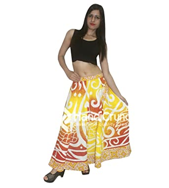 072459f25 Indian Mandala Cotton Red Yellow Beach Rapron Printed Skirt,Wrap Around  Skirt, Etnnic Mandala