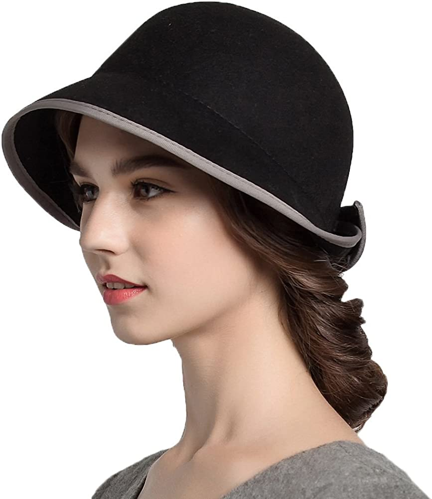 Maitose Trade; Womens Bow Wool Felt Bowler Hat