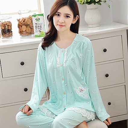 Pijama gordo y gordo más tamaño pijama de primavera y otoño de algodón de manga larga