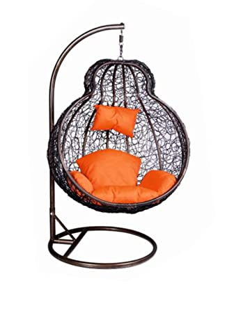 S K Modern Art Hanging Swing with Stand Single Seater (Brown) with Cushion