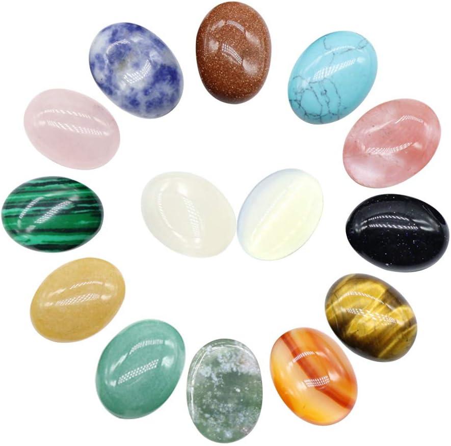 14pcs Cabochon Stone Oval Beads Piedras Semipreciosas para DIY Beads para Hacer Joyas