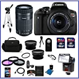 Canon EOS Rebel T6i DSLR Camera with 18-55mm Lens (USA Warranty) & Canon EF-S 55-250mm f/4-5.6 IS STM Lens + 58mm High Quality 2.2X Telephoto & .43X Wide Angle Lenses + Auto Power Flash + 48GB Accessory Bundle Kit