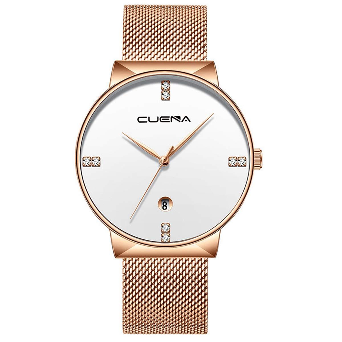 ZODRQ Men's Watch,Fashion Life Waterproof Sport Watches Stainless Steel Mesh Wrist Watch Wristwatch Date Quartz Watch Gift (C) by ZODRQ