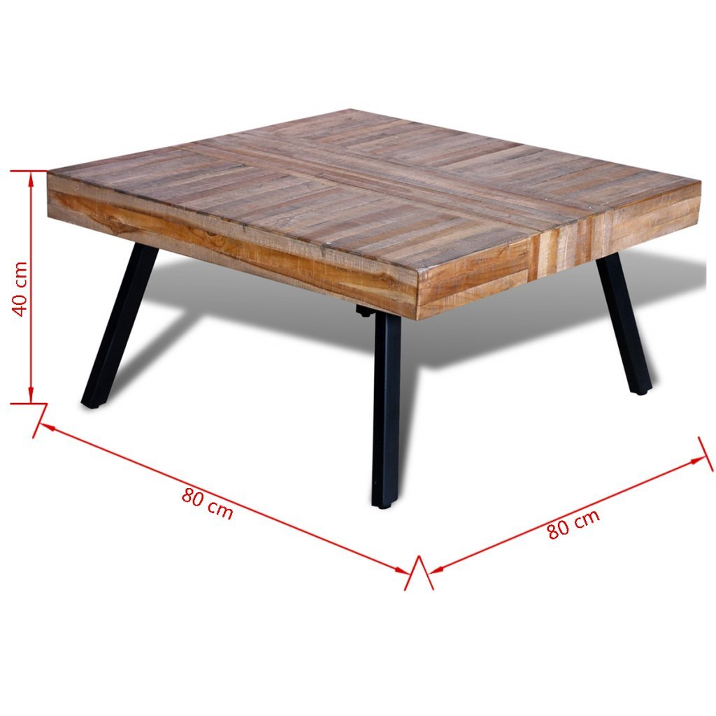 Festnight Solid Square Coffee Side Table, Reclaimed Wood