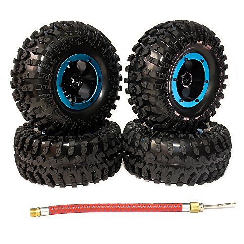 HobbyCrawler Inflatable 2.2 Inch Beadlock Tires Wheels Rubber 4-Pack for 1/10 Crawler Truck Wraith SCX10 AXIAL10 RC Car (Blue) ()