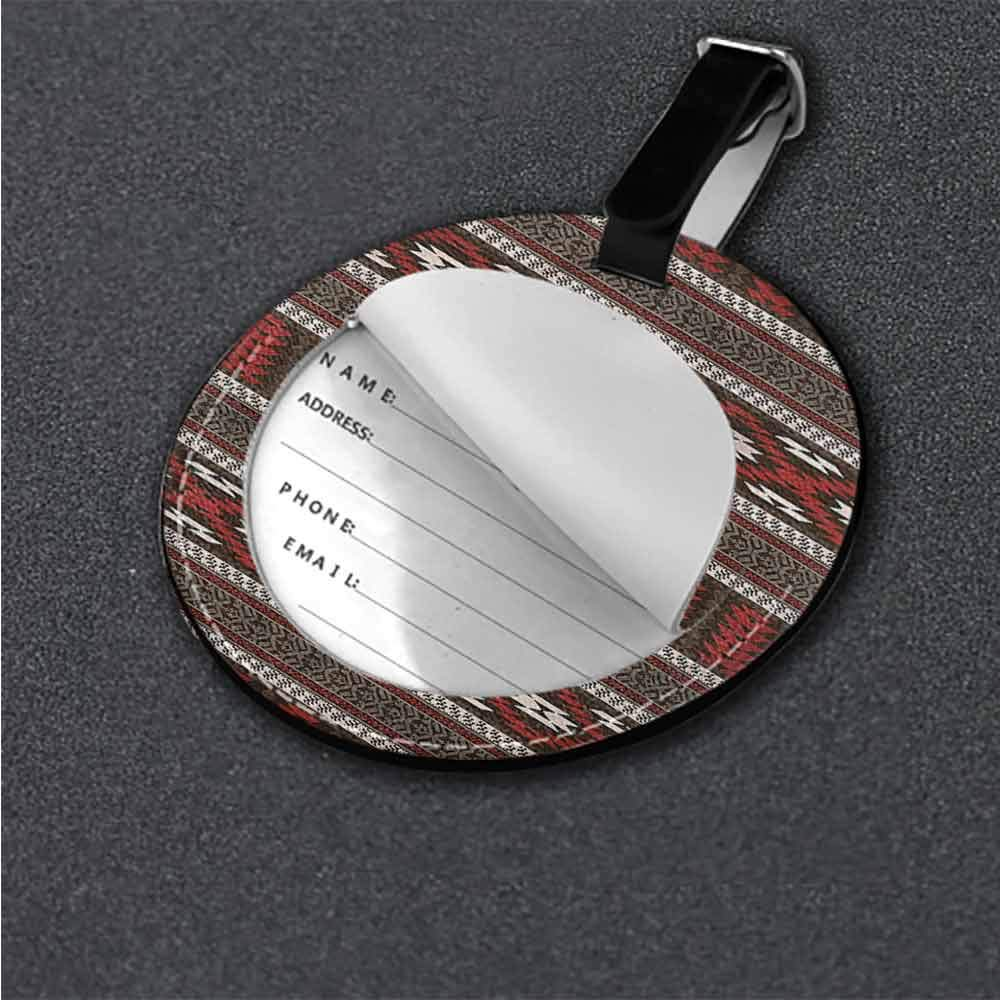 PU Leather Round Luggage Aztec,Monochrome Abstract Shapes Name Tags