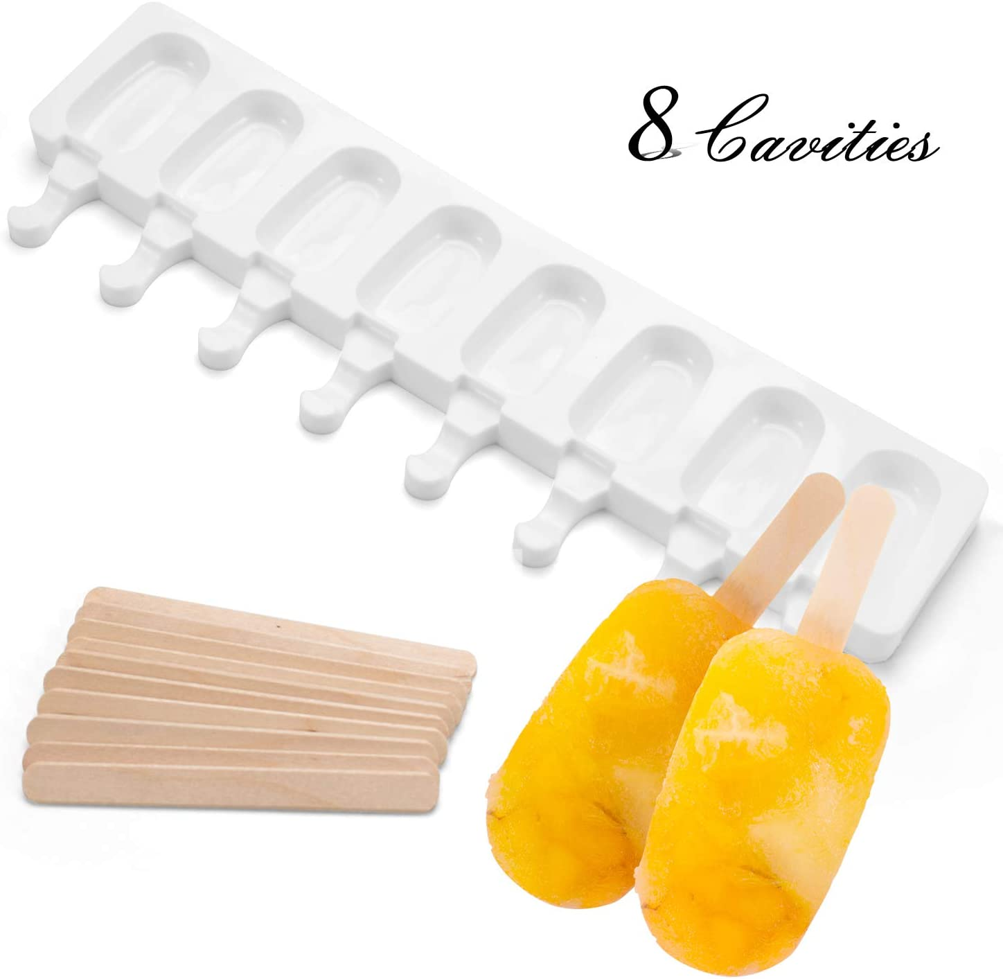 Ice Cream Maker Molds, FollowYT Mini Classic Shape Silicone Mold Popsicle Moulds for Ice Cream Pops with Popsicle Sticks (1 pack)