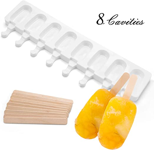 Silicone Ice Pop Molds 8 Cavities Homemade Ice Cream Mold Oval with 30 Wooden Sticks(Reusable Popsicle Molds) Popsicle Molds Ice Cream Mould