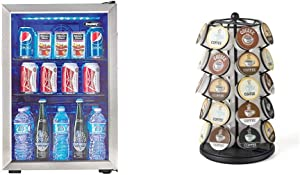 Danby DBC026A1BSSDB 95 Can Beverage Center, 2.6 Cu.Ft Refrigerator, Black/Stainless-Steel & K-Cup Carousel - Holds 35 K-Cups in Black