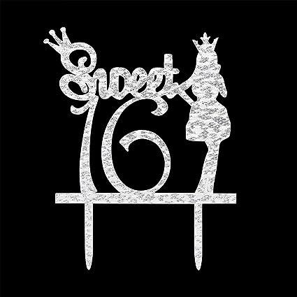 Amazoncom Sweet 16 Cake Topper Happy 16th Birthday Party