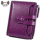 BIG SALE-30% OFF Yaluxe Women's RFID Blocking Security Leather Small Billfold Wallet Pebbled Purple