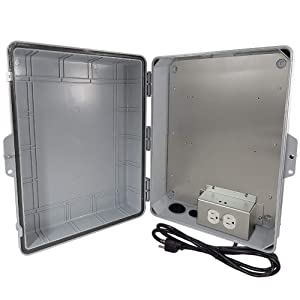 "Altelix NEMA Enclosure 17x14x6 (11.5"" x 9"" x 4.5"" Inside Space) Polycarbonate + ABS Weatherproof with Aluminum Equipment Mounting Plate, Pre-Wired 120 VAC Outlets, 5 Foot Power Cord"