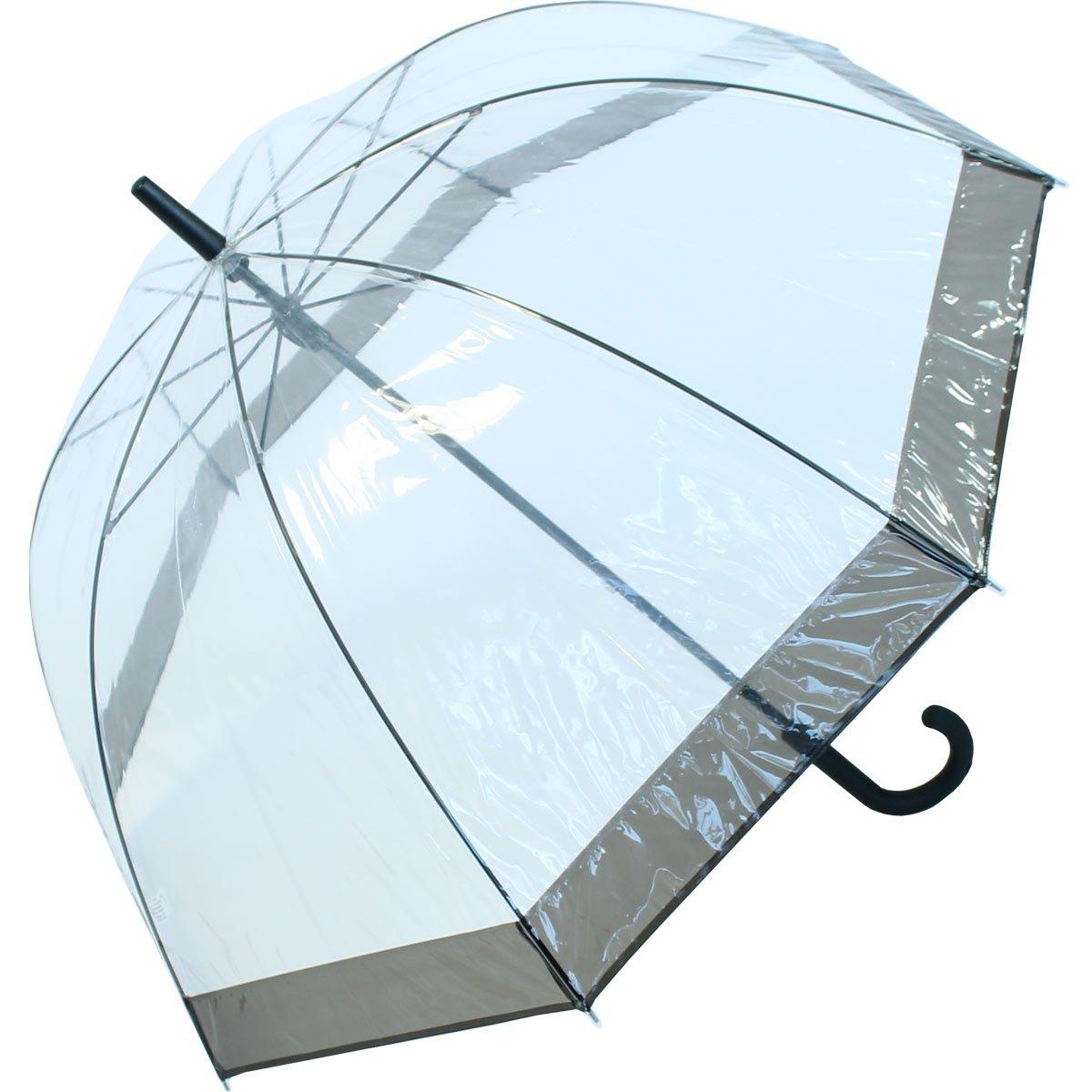 Regenschirm Transparent / Durchsichtig Glockenschirm schwarz 1971