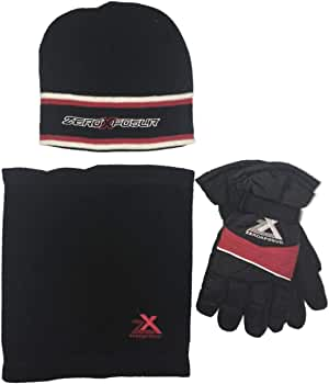 ZeroXposur Boys Winter Gloves and Winter Hat Set with Thinsulate Touch Screen Tips PVC Palms and Adjustable Cuffs