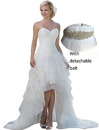 Belle House Women\'s Long Hi Lo Bridal Gown Strapless Organza Wedding ...