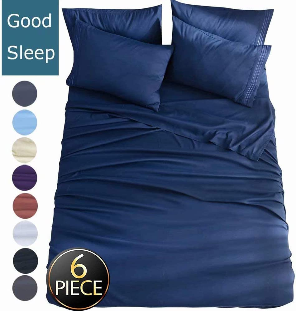 Shilucheng King Size 6-Piece Bed Sheets Set Microfiber 1800 Thread Count Percale 16 Inch Deep Pockets Super Soft and Comforterble Wrinkle Fade and Hypoallergenic(King,Navy Blue)