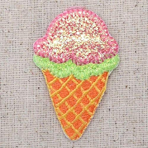 (Top Embroidered Patch Iron On Applique Sparkle Lime Green Pink Ice Cream Waffle)