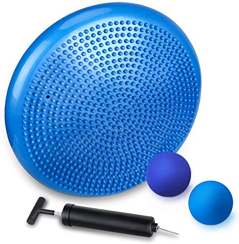 JBM Inflated Stability Wobble Cushion 2pcs Lacrosse Massage Balls - 13 Balance Stability Disc with Pump - Support up to 770lb, Firm Balls for Myofascial Release and Yoga Therapy