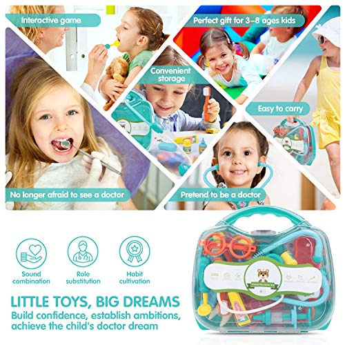 Kids Doctor Kit 41 Pieces Pretend Play Equipment Dentist Medical Kit with Stethoscope and Nurse Hat, Portable Case for Kids Doctor Role-Play Costume Dress-Up Game for Boys and Girls