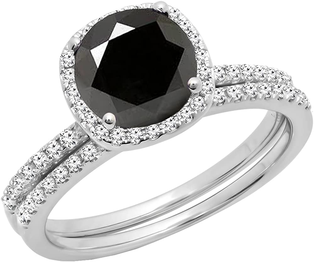 Dazzlingrock Collection 2.00 Carat (ctw) 14K Gold Round Cut Black & White Diamond Bridal Halo Engagement Ring Set 2 CT