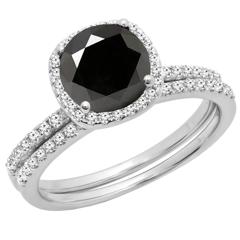 2.00 Carat (ctw) 14K White Gold Round Cut Black & White Diamond Engagement Ring Set 2 CT (Size 6.5)