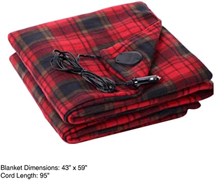 Truck or RV with High//Low Temp control 12-Volt Red Plaid Heated Electric Blanket for Car