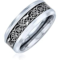 Personalize Two Tone Celtic Knot Dragon Carbon Fiber Inlay Couples Silver Gold Tones Titanium Wedding Band Rings for Men…