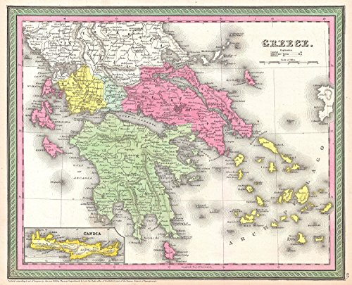 Art Oyster Map of Greece, 1853-32