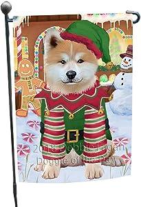 Doggie of the Day Christmas Gingerbread House Candyfest Akita Dog Garden Flag GFLG56676