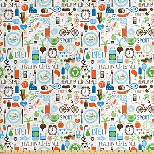 (Ambesonne Fitness Fabric The Yard, Sports Diet Balance Nutrition Bicycle Organic Fresh Food Poultry Juice Vitality, Decorative Fabric Upholstery Home Accents, 2 Yards,)