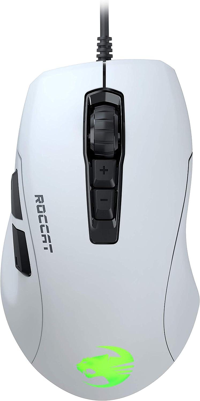 Roccat Kone Pure Ultra Light Ergonomic Gaming Maus Optischer Sensor 16000 Dpi Rgb Beleuchtung 66g Ultra Leicht Weiß Games
