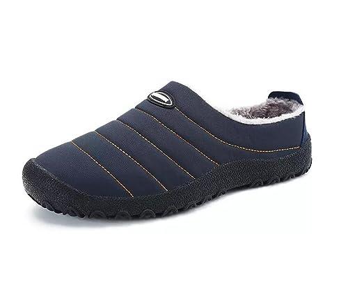 QLVY Invierno El Resbalón Zapatillas de imitación de Piel de Nieve Rayado Zapatos Resistente al Agua